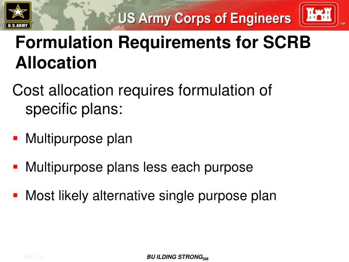 Formulation Requirements for SCRB Allocation