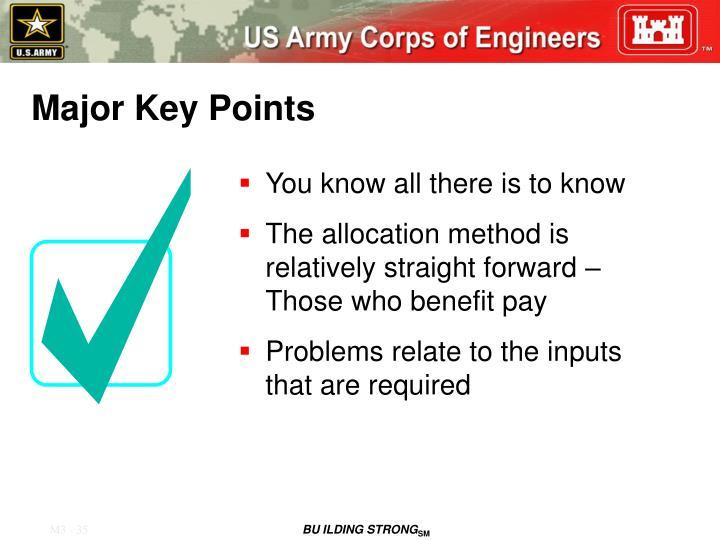 Major Key Points