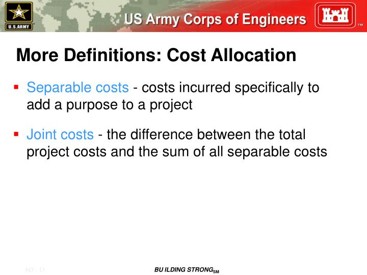 More Definitions: Cost Allocation