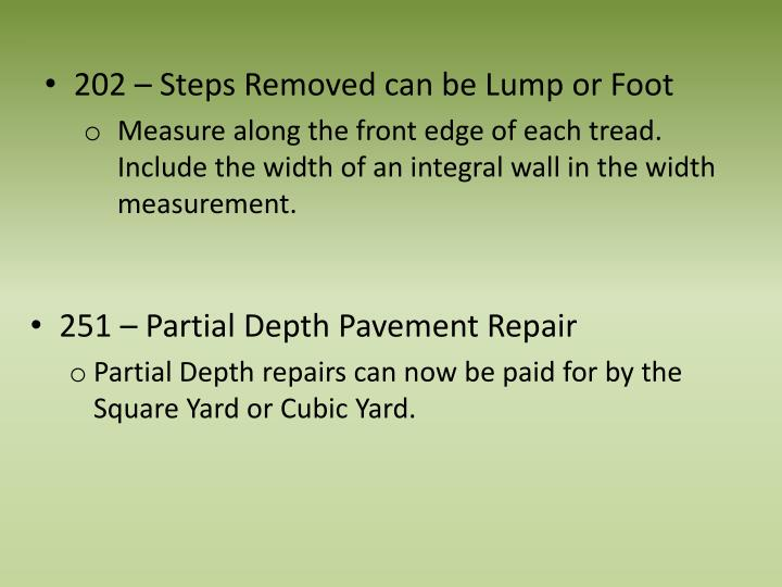 202 – Steps Removed can be Lump or Foot