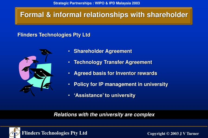 Formal & informal relationships with shareholder