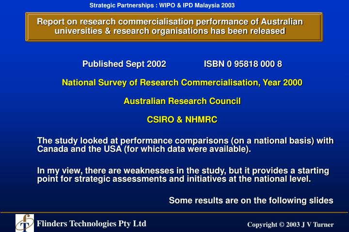 Report on research commercialisation performance of Australian universities & research organisations has been released