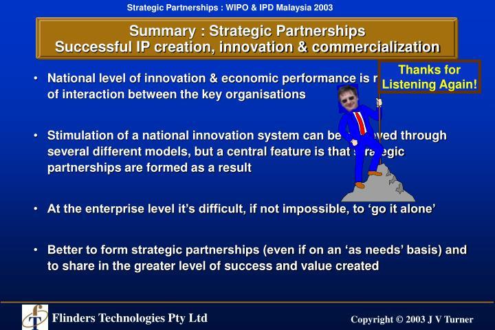 Summary : Strategic Partnerships