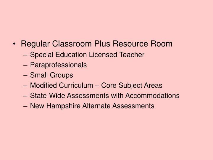 Regular Classroom Plus Resource Room