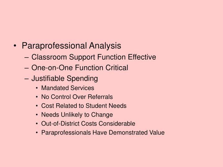 Paraprofessional Analysis