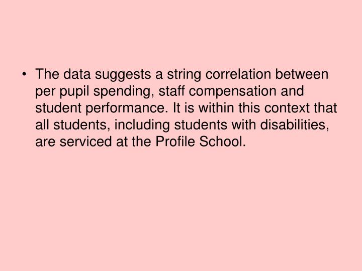 The data suggests a string correlation between per pupil spending, staff compensation and student performance. It is within this context that all students, including students with disabilities, are serviced at the Profile School.