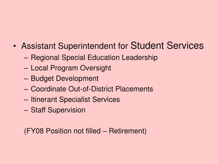 Assistant Superintendent for