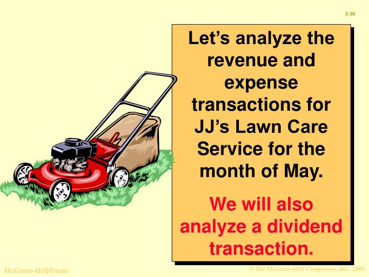 Let's analyze the revenue and expense transactions for JJ's Lawn Care Service for the month of May.