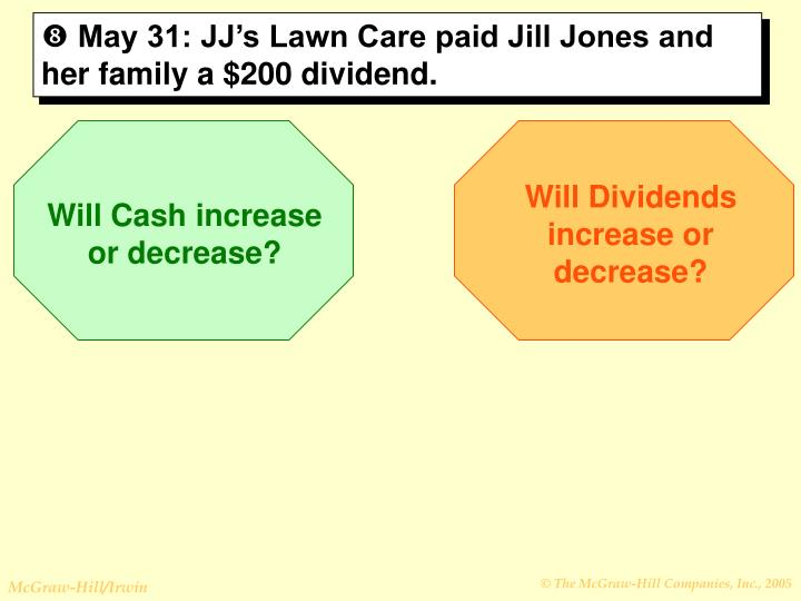 May 31: JJ's Lawn Care paid Jill Jones and her family a $200 dividend.