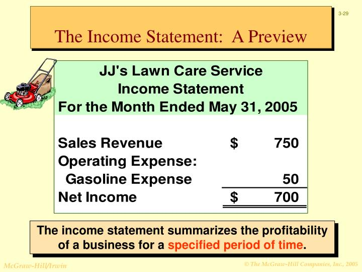 The Income Statement:  A Preview