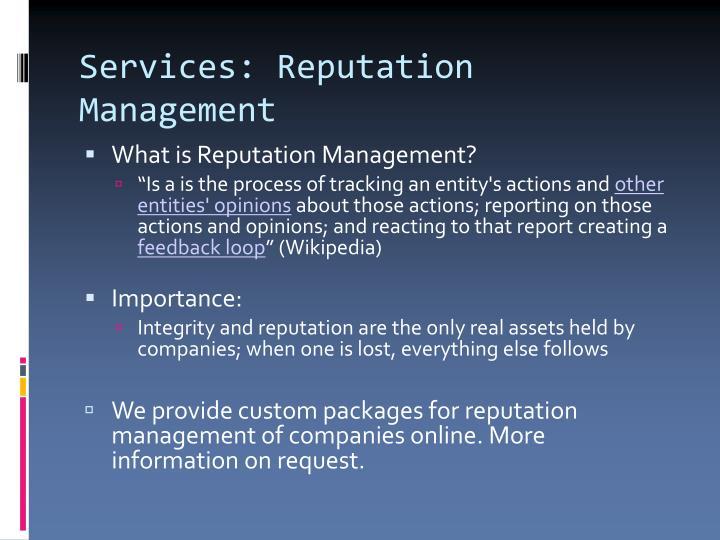 Services: Reputation Management