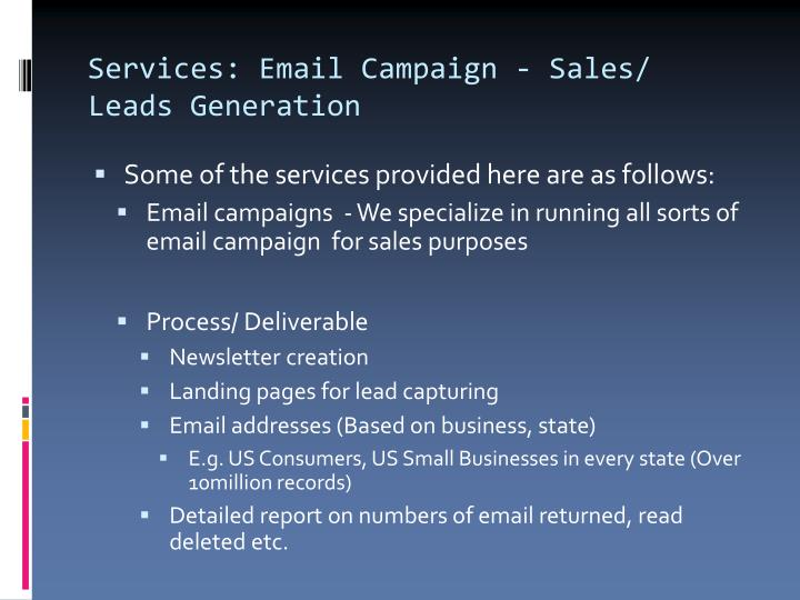 Services: Email Campaign - Sales/ Leads Generation