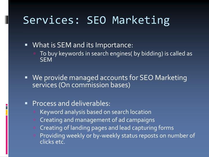 Services: SEO Marketing