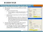 turning on search page type ahead
