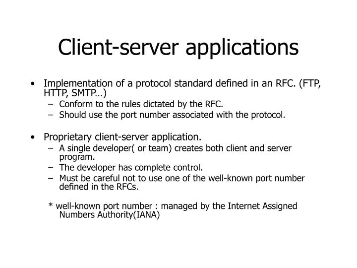 Client-server applications