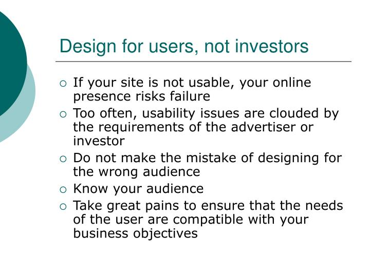 Design for users, not investors