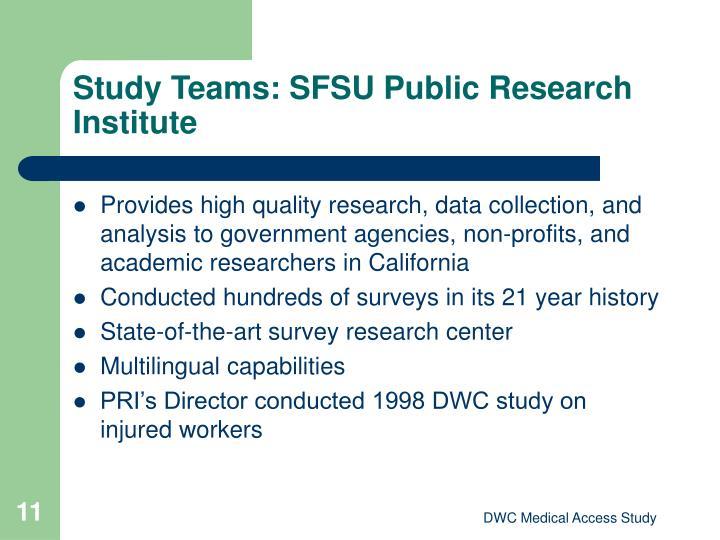 Study Teams: SFSU Public Research Institute