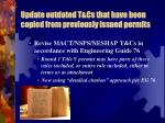update outdated t cs that have been copied from previously issued permits1
