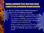 update outdated t cs that have been copied from previously issued permits2