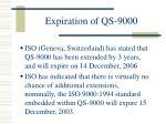 expiration of qs 9000