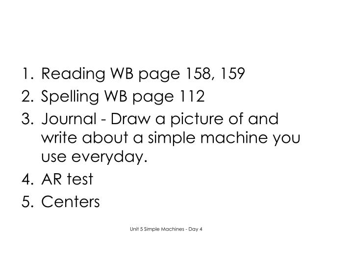 Reading WB page 158, 159