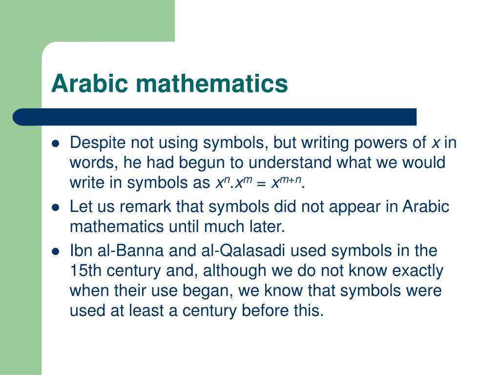 PPT - Arabic Mathematics, Indian Mathematics and zero