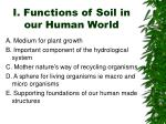i functions of soil in our human world