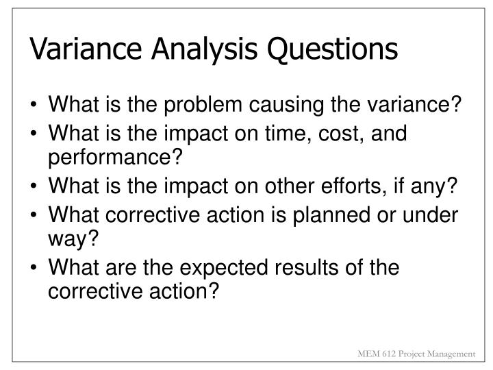 Variance Analysis Questions