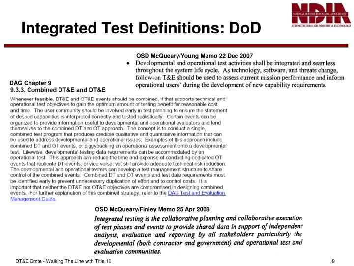 Integrated Test Definitions: