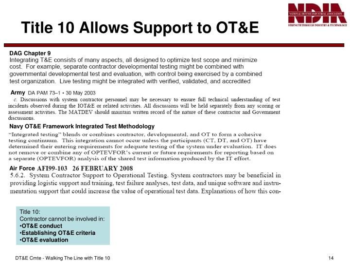 Title 10 Allows Support to OT&E