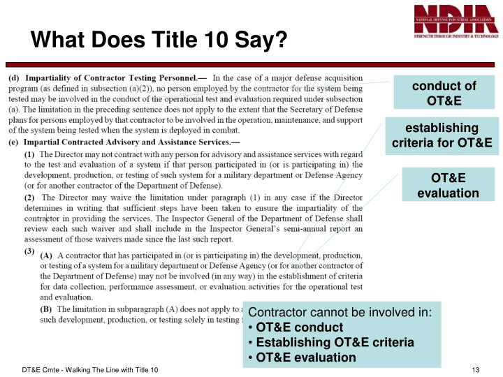 What Does Title 10 Say?
