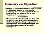summary vs objective