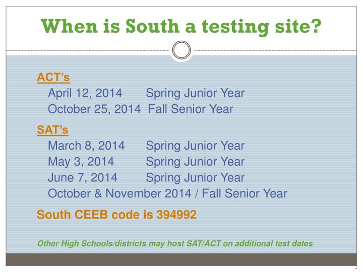 When is South a testing site?