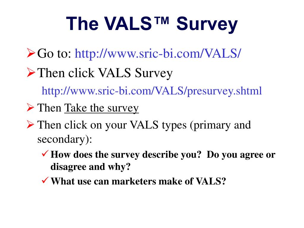vals survey results