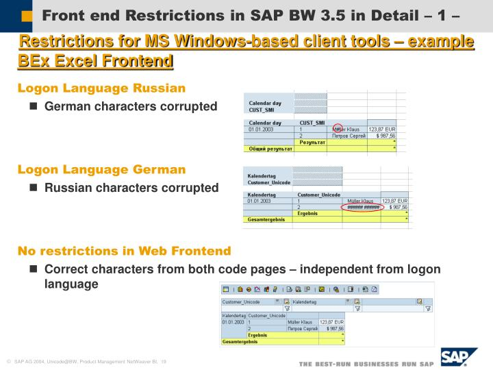 Front end Restrictions in SAP BW 3.5 in Detail – 1 –