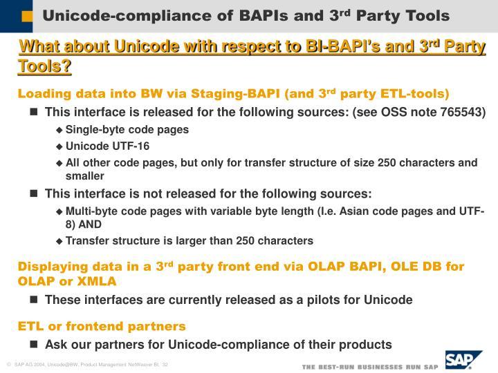 Unicode-compliance of BAPIs and 3