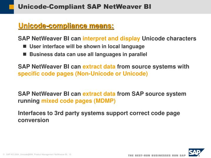 Unicode-Compliant SAP NetWeaver BI