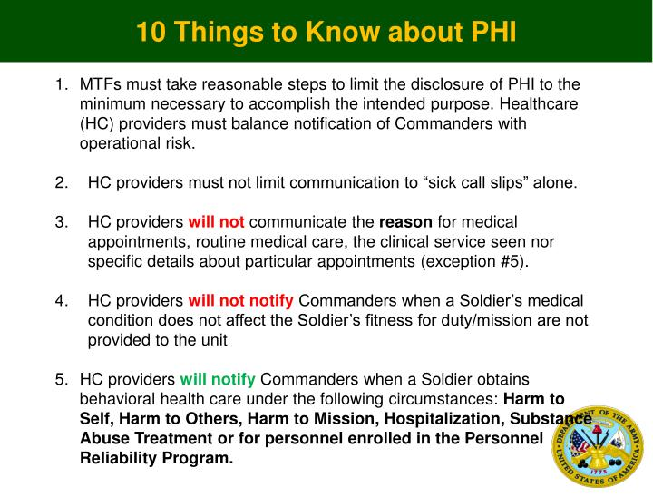 10 Things to Know about PHI