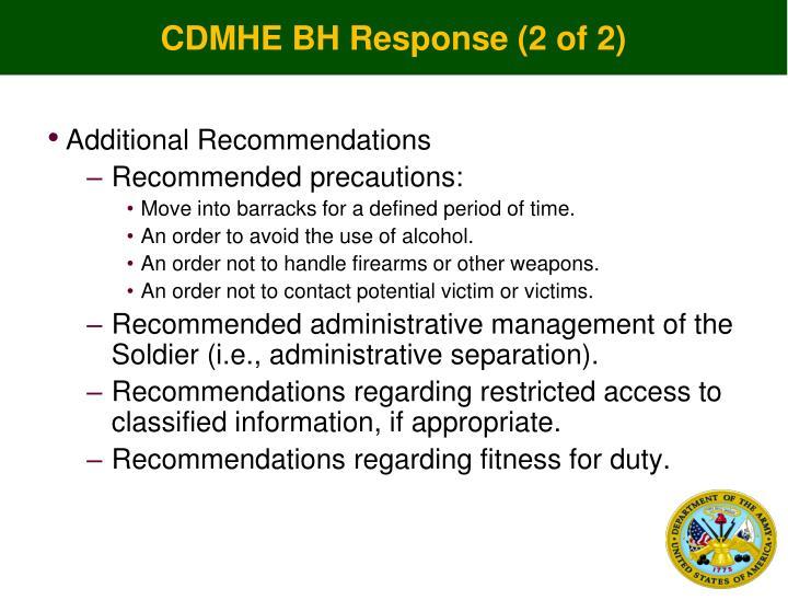 CDMHE BH Response (2 of 2)