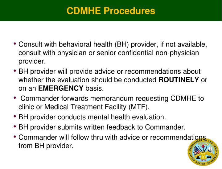 CDMHE Procedures