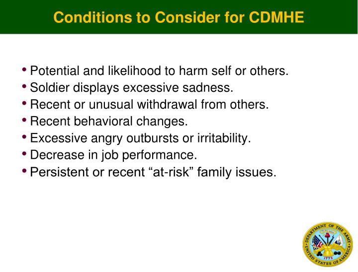 Conditions to Consider for CDMHE