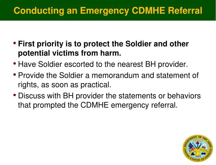 Conducting an Emergency CDMHE Referral