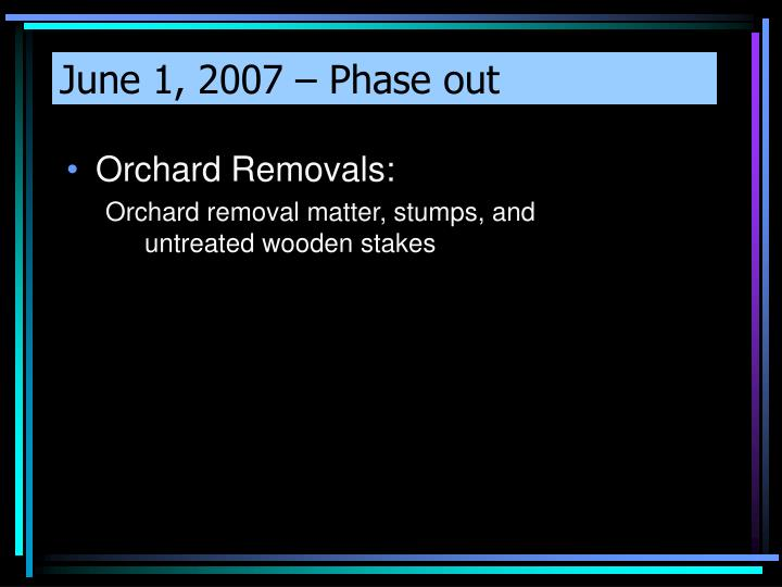 June 1, 2007 – Phase out