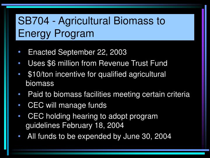 SB704 - Agricultural Biomass to Energy Program