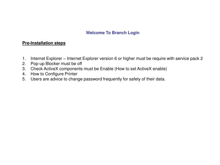 Welcome To Branch Login