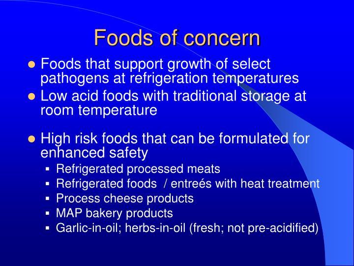 Foods of concern