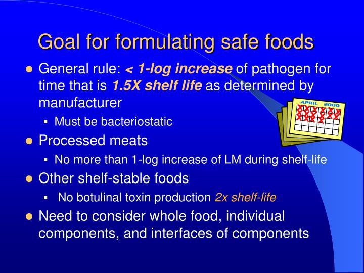 Goal for formulating safe foods
