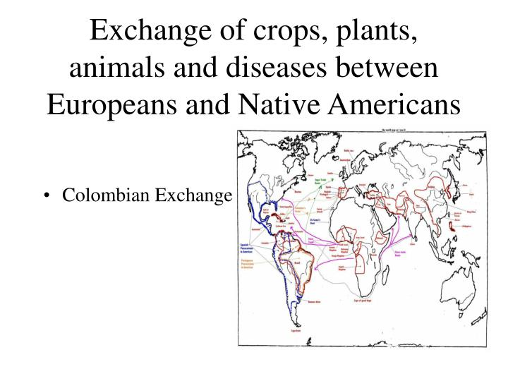 Exchange of crops, plants, animals and diseases between Europeans and Native Americans