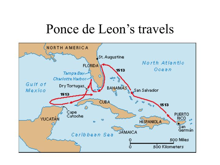 Ponce de Leon's travels