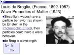 louis de broglie france 1892 1987 wave properties of matter 1923